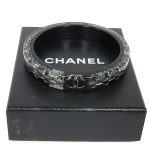 Chanel Chanel Chain CC Logo Link Signature Silver HW Blacl Bracelet