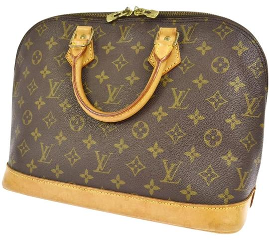 Louis Vuitton Vintage Leather Monogram Pad Lock Satchel in BROWN