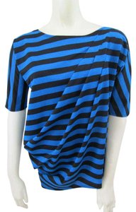 Tracy Reese Striped Metallic Black Top Blue