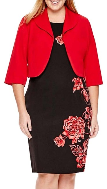 Item - Red and Black Jacket Mid-length Formal Dress Size 24 (Plus 2x)