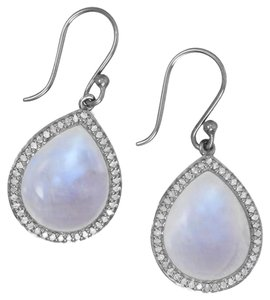 Sterling Collections Midnight Collection Drop Earrings With Gray Diamonds