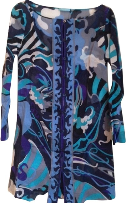 Item - White Teal Navy & Purple W Linen W/ Tags Cover-up/Sarong Size 6 (S)