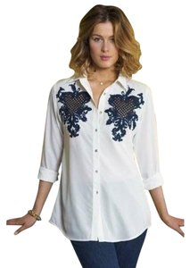 Soft Surroundings Button Down Shirt White/Black