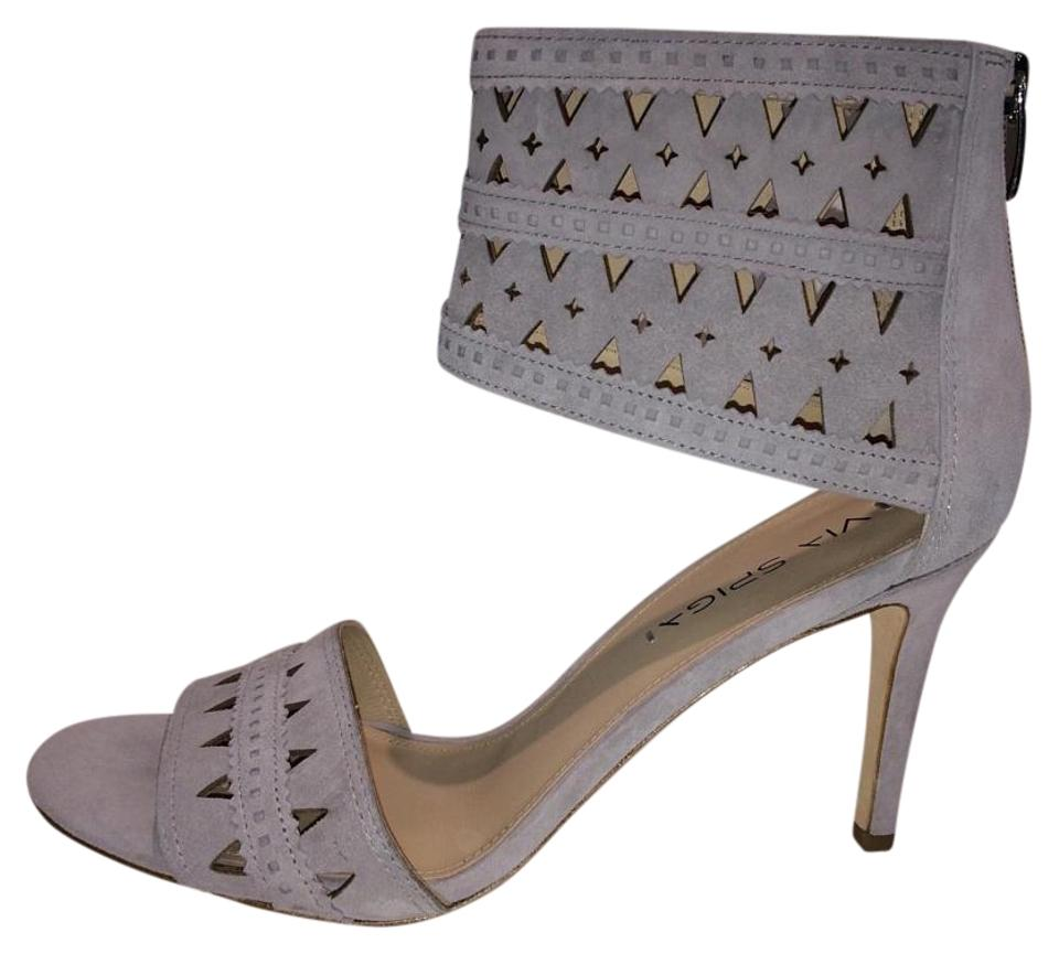 Via Spiga Strap Soft Grey New Laser Cut Ankle Strap Spiga Suede Leather Sandals 88538b