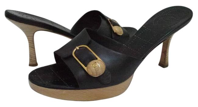 Item - Black New with Cc Wood Button. Sandals Size US 8 Regular (M, B)
