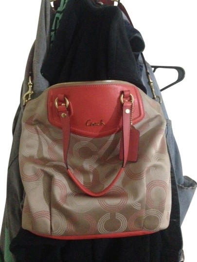 Coach Satchel in coral/peach, tan