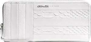 Coach Coach WHITE PATCHWORK LEATHER SLIM CONTINENTAL ZIP AROUND WALLET