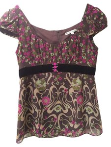 Nanette Lepore Silk Top brown and pink
