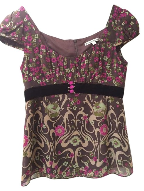 Preload https://item2.tradesy.com/images/nanette-lepore-brown-and-pink-silk-blouse-size-4-s-15717496-0-1.jpg?width=400&height=650