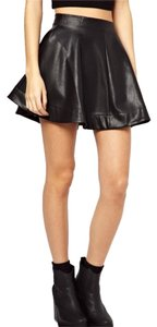 ASOS Pettite Faux Leather Mini Skater Mini Skirt Black