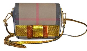 Burberry Mini Crossbody Berkeley Python Iris Yellow and NOVA PLAID Messenger Bag