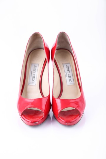 Jimmy Choo Structured Peep Toe Red Pumps