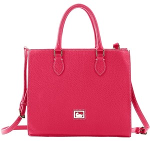 Dooney & Bourke Leather Silver Hardware Satchel in Tomato Red