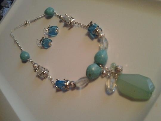 Avon Statement Necklace & Earrings Set with Sea Glass Accents