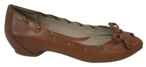 Kenneth Cole Reaction On Bard Le Peep Toe Stitch Brown Flats