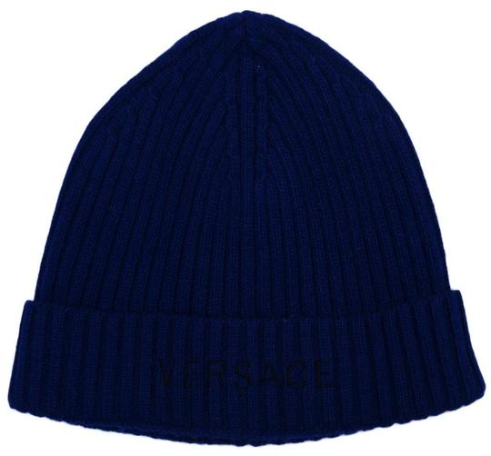 Versace Versace Blue Knitted Beanie Wool Blend Hat