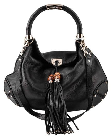 Gucci Bamboo Leather Satchel in Black