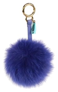 Fendi FENDI Fox Fur Pom Pom Bag Charm Berry Key Chain Purple
