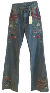 Spell Designs Bohemian Boho Embroided Flare Leg Jeans-Light Wash