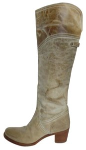 Frye Over The Knee Taupe Leather Beige Distressed Boots