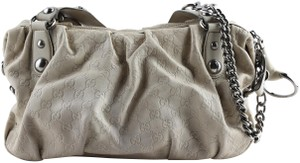 Gucci Embossed Leather Shoulder Tote in Beige