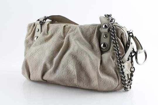 Gucci Embossed Leather Shoulder Tote in Beige Image 1