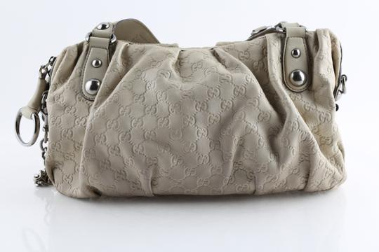 Gucci Embossed Leather Shoulder Tote in Beige Image 3