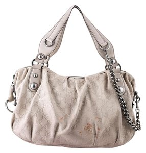 Gucci Embossed Leather Tote in Beige