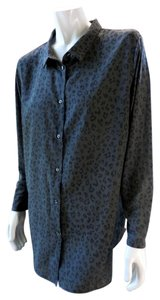 H&M Animal Print Career Relaxed Button Down Shirt Gray