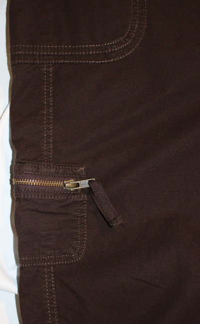 Style & Co Cargo Pocket Zipper Draw String Summer Capris Brown