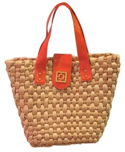 Trina Turk Tote in Tan With Orange