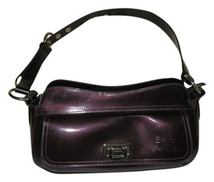 Beijo Eggplant Leather Adjustable Strap Zipper Shoulder Bag