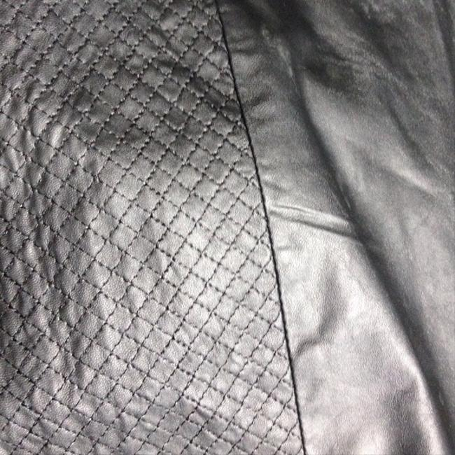 H&M Faux Leather Textured Mini Skirt Black