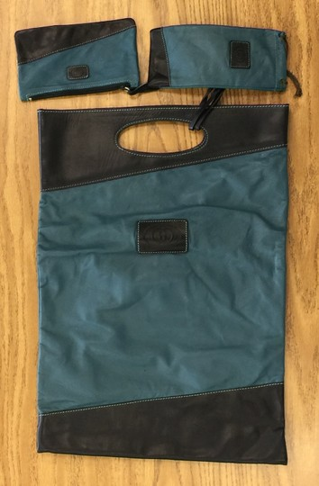 Gucci Vintage Leather Fully Lined Tote in Green, Black