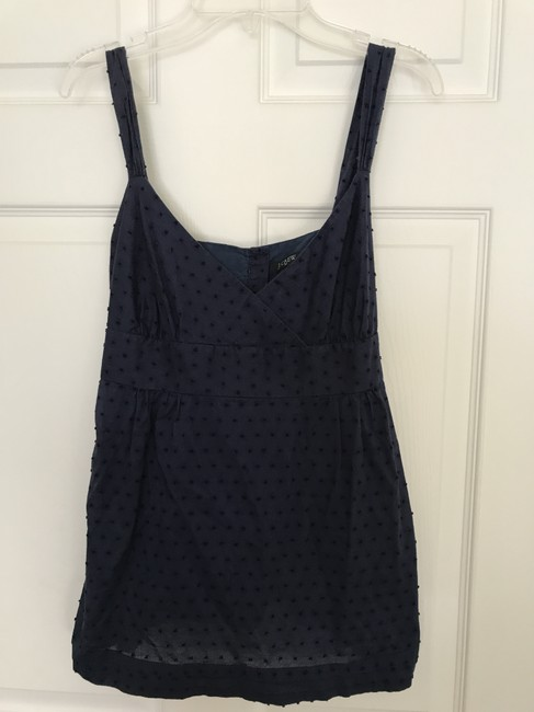 J.Crew Dotted Swiss Tie Back Button Clisure Top Navy Image 1