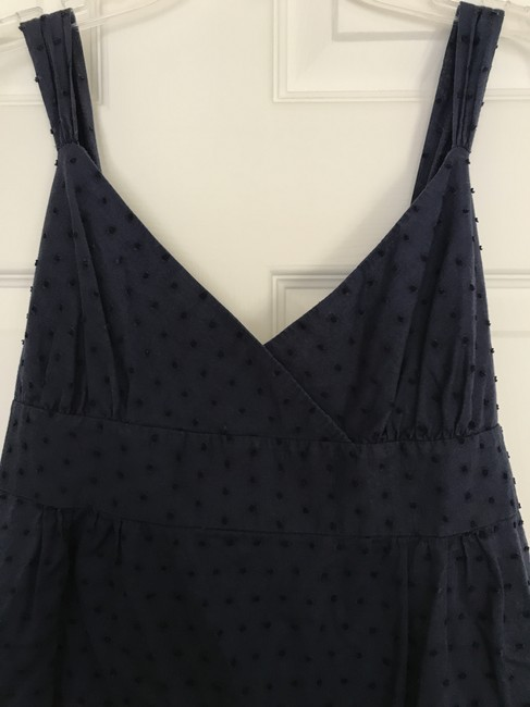 J.Crew Dotted Swiss Tie Back Button Clisure Top Navy Image 2