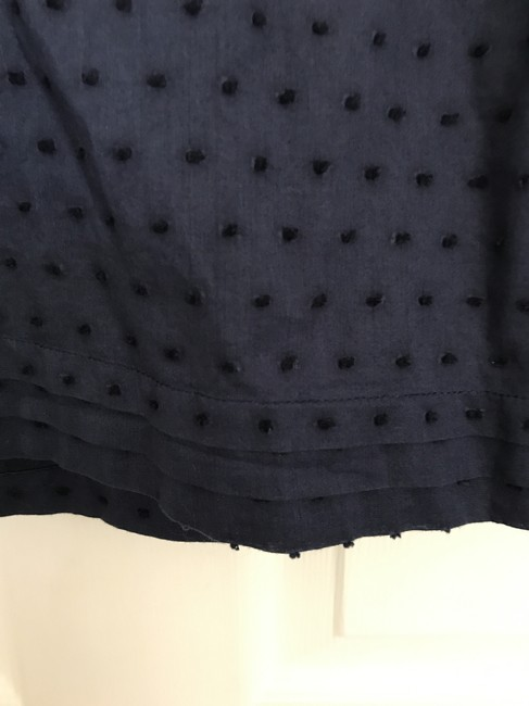 J.Crew Dotted Swiss Tie Back Button Clisure Top Navy