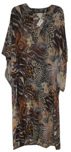 La Palapa La Palapa floral and animal print sheer caftan