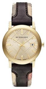 Burberry Nwt Burberry City Gold Gone Leather Strap Woman BU9032