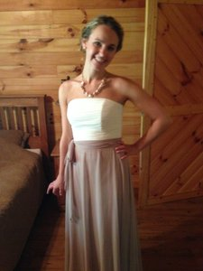 After Six Skirt Color: Taupe, Bodice: Ivory Http://www.dessy.com/dresses/bridesmaid/6677/#.usx_zkd3hrp?md=yes Dress