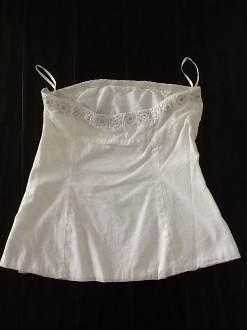 J.Crew Sleeveless Strapless Embroidery White & Silver Halter Top