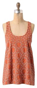 Anthropologie Hwr Monogram Daphne Crown Top Burnt Orange, Golden
