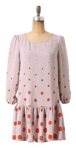 Anthropologie short dress Gray, Orange Meadow Rue Minutiae Drop Waist Polka Dot on Tradesy