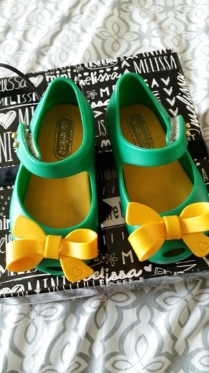 Mini Melissa Green with Yellow bow Sandals