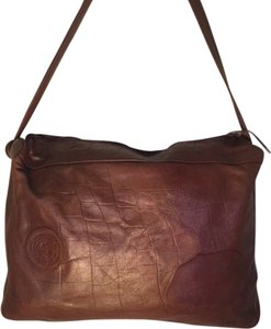 Carlos Falchi Leather Brown Messenger Bag