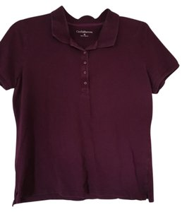 Croft & Barrow Polo Button Short Sleeve Golf Top Dark purple (plum)