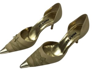 PAULE KA Pump Tan & Gold Pumps