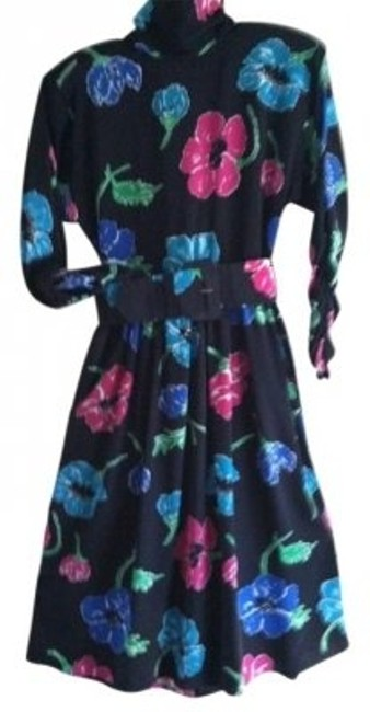 Preload https://item2.tradesy.com/images/ciao-bella-black-floral-long-shirred-sleeve-shirtwaist-polyester-mid-length-workoffice-dress-size-10-15721-0-0.jpg?width=400&height=650