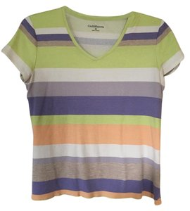 Croft & Barrow Vneck Sleeve Green Grey Peach T Shirt multi