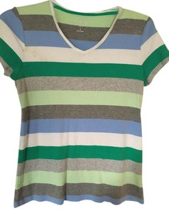 Croft & Barrow Vneck Short Sleeve Grey Green T Shirt multi